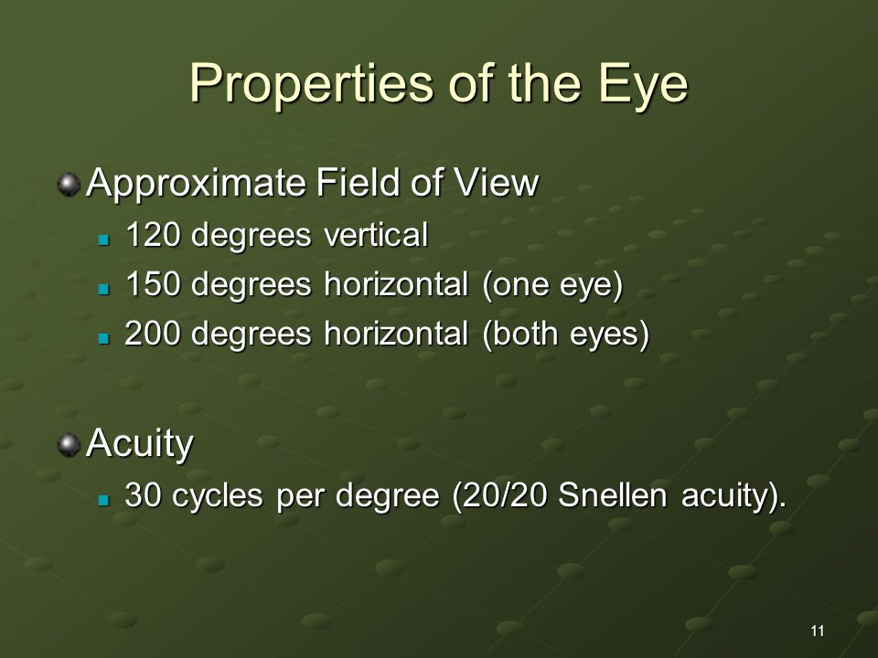 11 Properties of the Eye Approximate Field of View 120 degrees vertical 120 degrees vertical 150 degrees horizontal (one eye) 150 degrees horizontal (one eye) 200 degrees horizontal (both eyes) 200 degrees horizontal (both eyes)Acuity 30 cycles per degree (20/20 Snellen acuity).