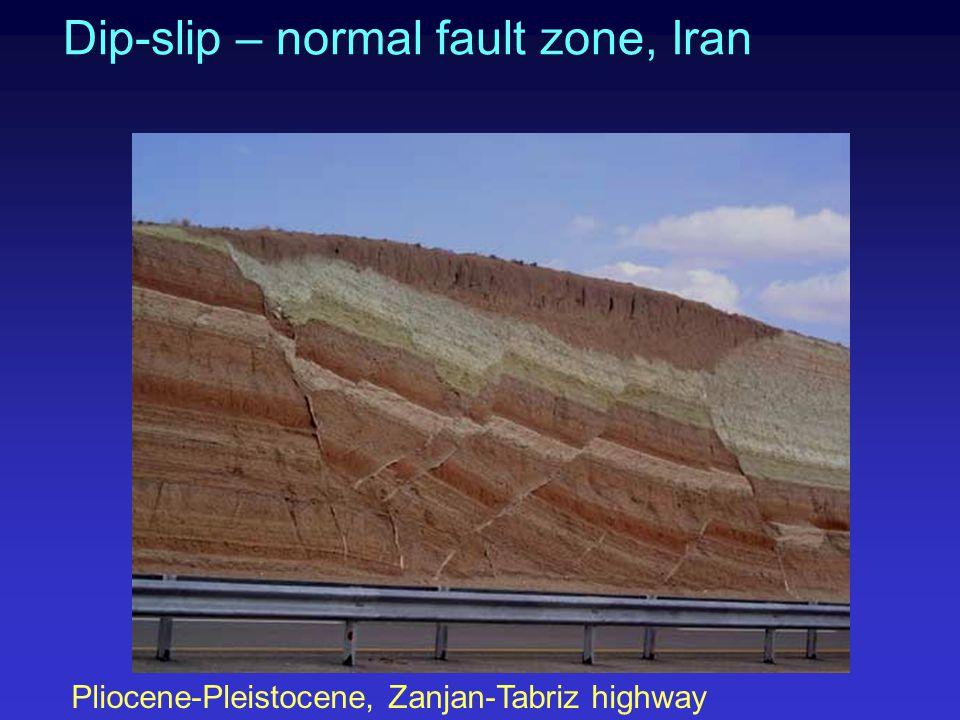 Dip-slip – normal fault zone, Iran Pliocene-Pleistocene, Zanjan-Tabriz highway