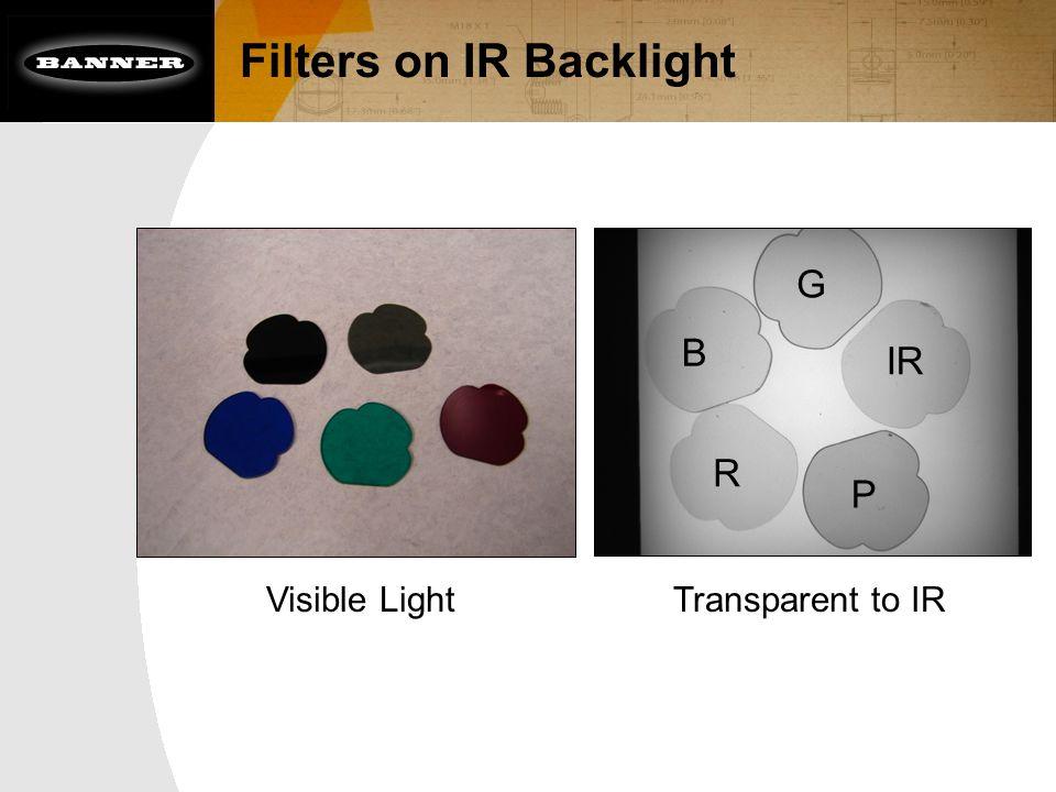 Filters on IR Backlight Visible Light G B R P IR Transparent to IR