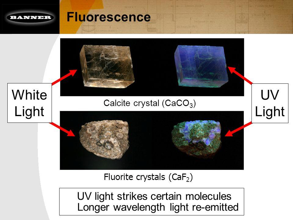 Fluorescence UV light strikes certain molecules Calcite crystal (CaCO 3 ) Fluorite crystals (CaF 2 ) Longer wavelength light re-emitted UV Light White Light