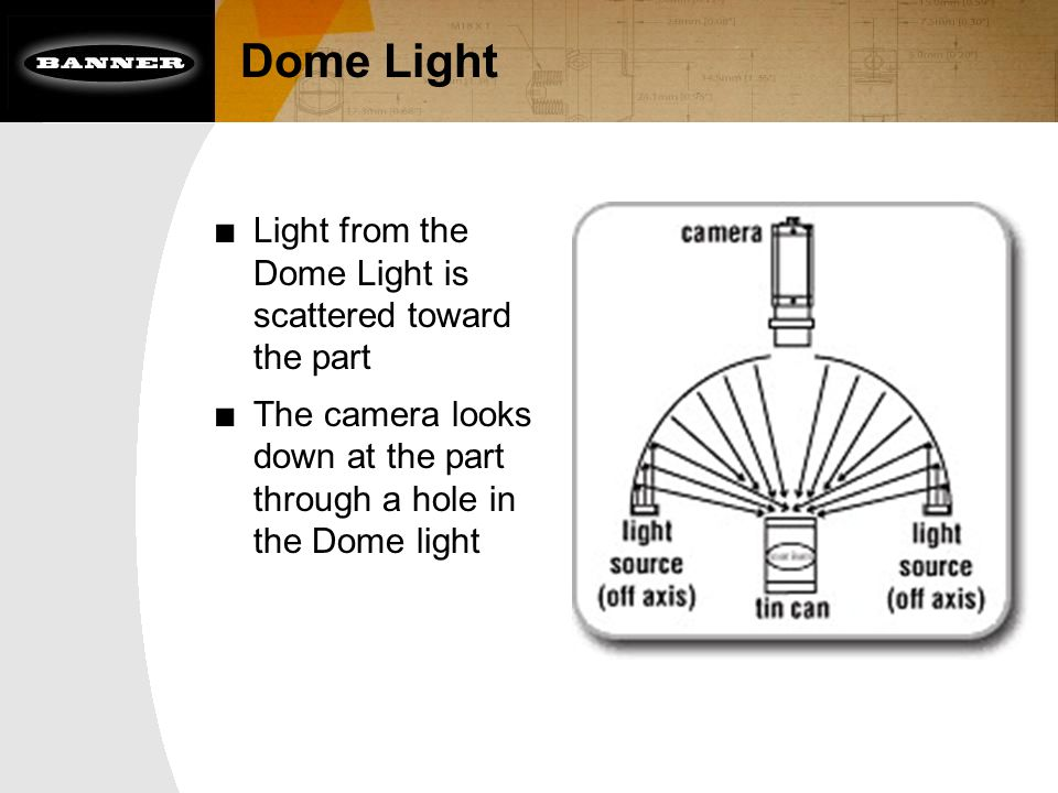 ■ Light from the Dome Light is scattered toward the part ■ The camera looks down at the part through a hole in the Dome light