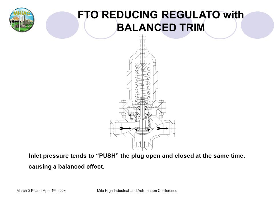 "March 31 st and April 1 st, 2009Mile High Industrial and Automation Conference FTO REDUCING REGULATO with BALANCED TRIM Inlet pressure tends to ""PUSH"""