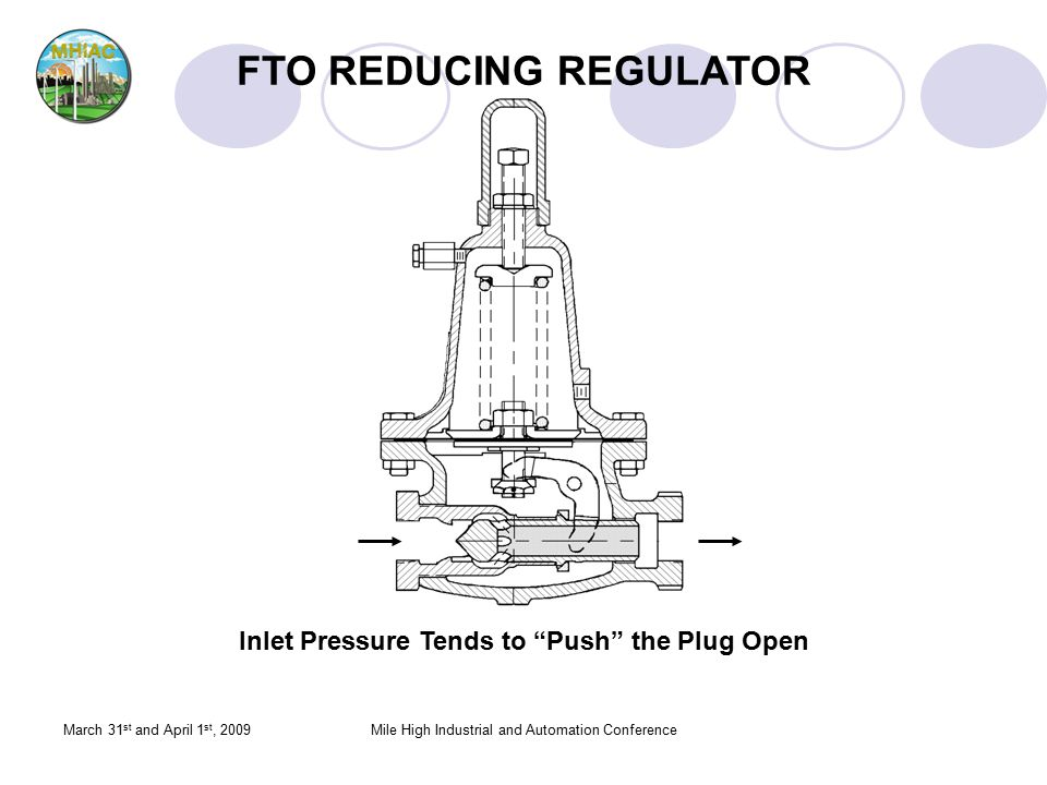 "March 31 st and April 1 st, 2009Mile High Industrial and Automation Conference Inlet Pressure Tends to ""Push"" the Plug Open FTO REDUCING REGULATOR"