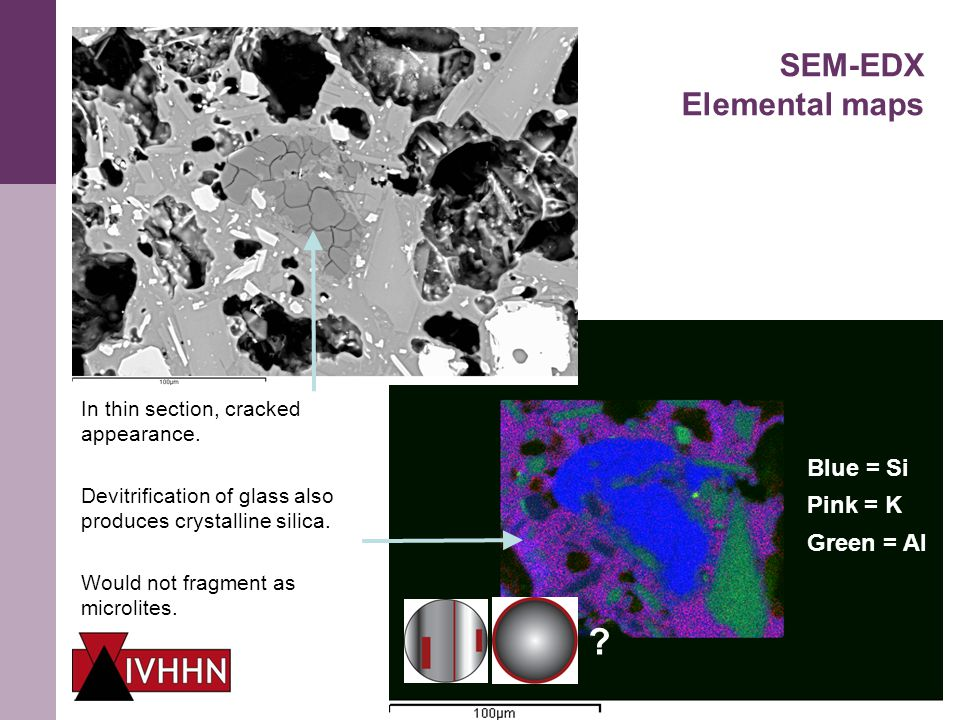 Case Study 1 – Volcanic ash Early results 1 mm SEM-EDX Elemental maps In thin section, cracked appearance.