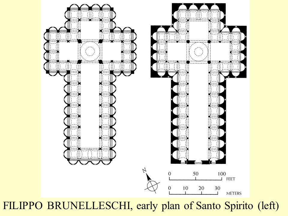 FILIPPO BRUNELLESCHI, early plan of Santo Spirito (left)