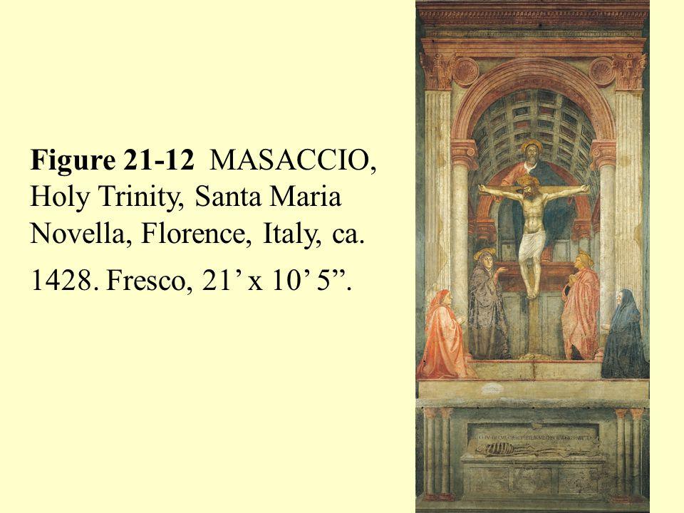 """Figure 21-12 MASACCIO, Holy Trinity, Santa Maria Novella, Florence, Italy, ca. 1428. Fresco, 21' x 10' 5""""."""