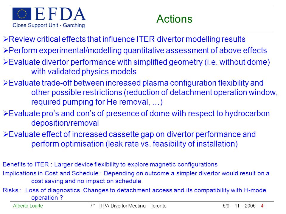 Alberto Loarte 7 th ITPA Divertor Meeting – Toronto 6/9 – 11 – 2006 4 Actions  Review critical effects that influence ITER divertor modelling results  Perform experimental/modelling quantitative assessment of above effects  Evaluate divertor performance with simplified geometry (i.e.