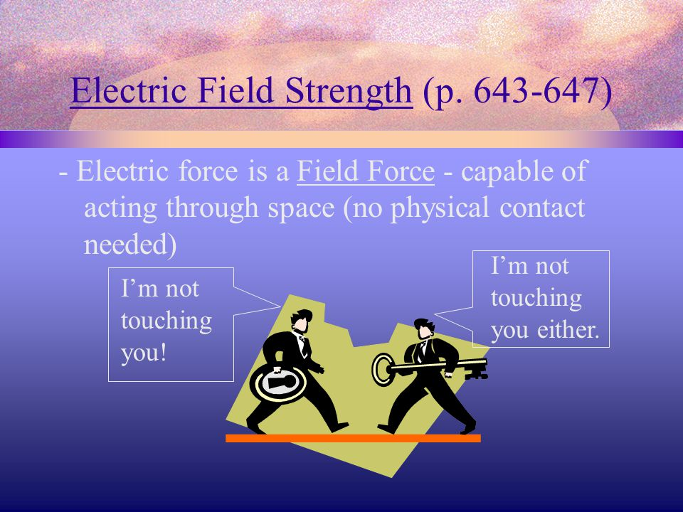 Electric Field Strength (p. 643-647) - Electric force is a Field Force - capable of acting through space (no physical contact needed) I'm not touching