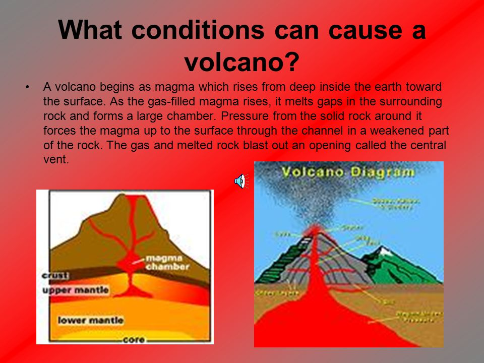 Part 1 The science behind a volcano What conditions can cause a volcano.