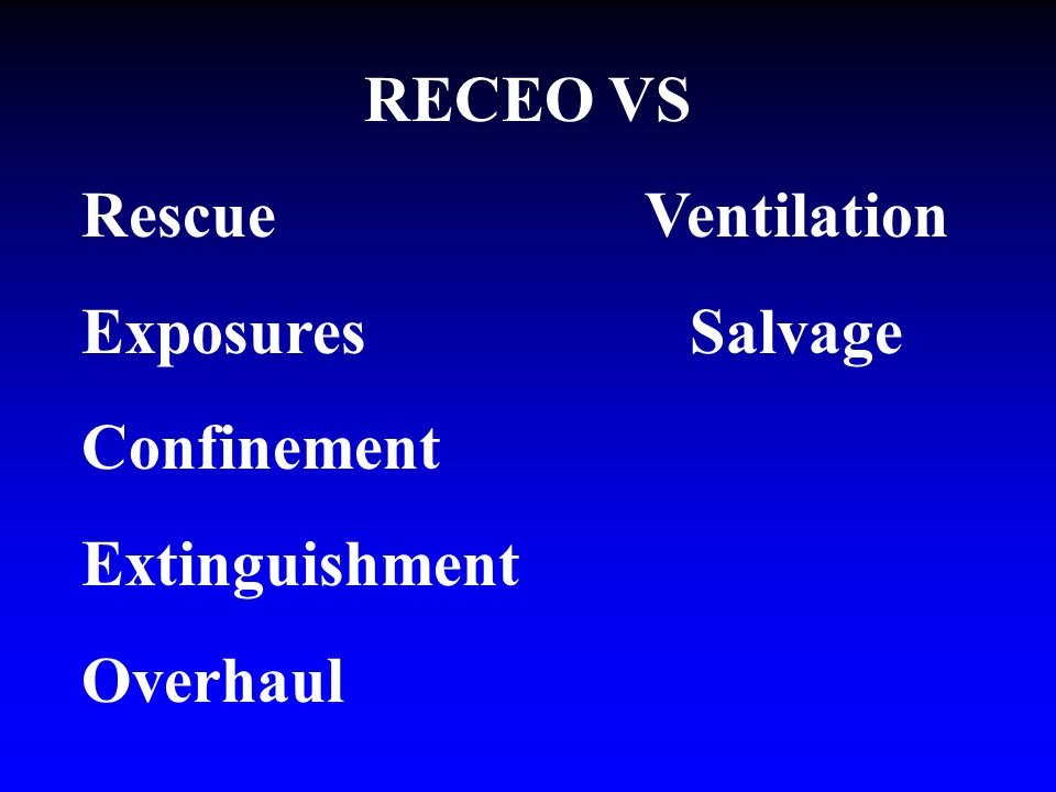RECEO VS Rescue Ventilation Exposures Salvage Confinement Extinguishment Overhaul