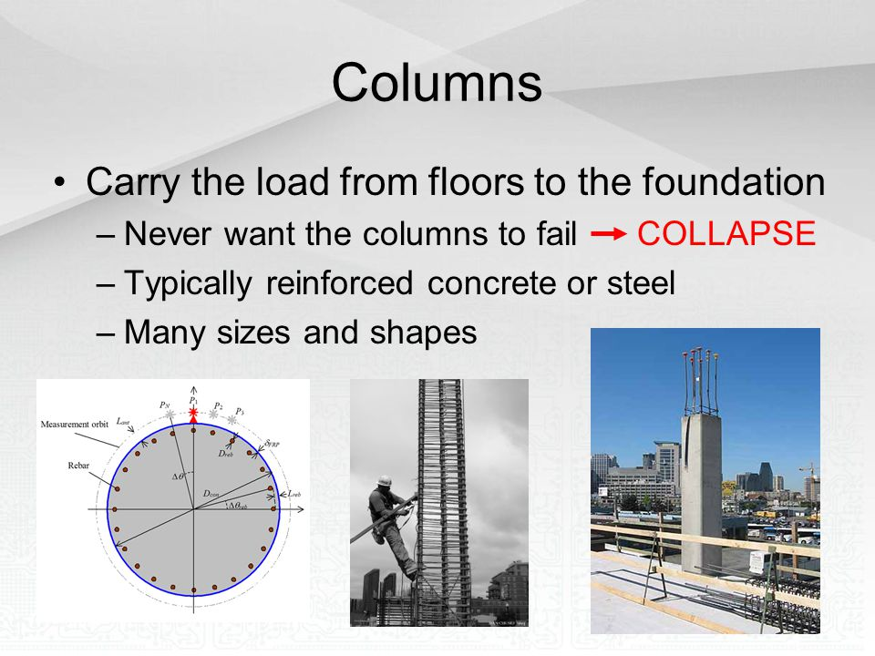 Columns Carry the load from floors to the foundation –Never want the columns to fail COLLAPSE –Typically reinforced concrete or steel –Many sizes and