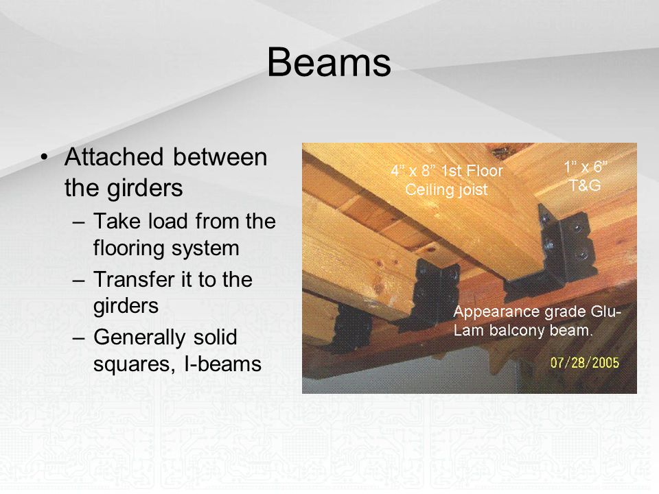 Beams Attached between the girders –Take load from the flooring system –Transfer it to the girders –Generally solid squares, I-beams