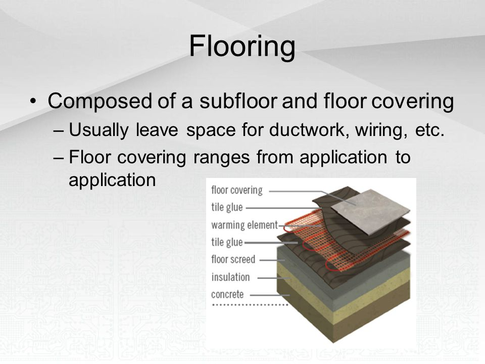 Flooring Composed of a subfloor and floor covering –Usually leave space for ductwork, wiring, etc. –Floor covering ranges from application to applicat