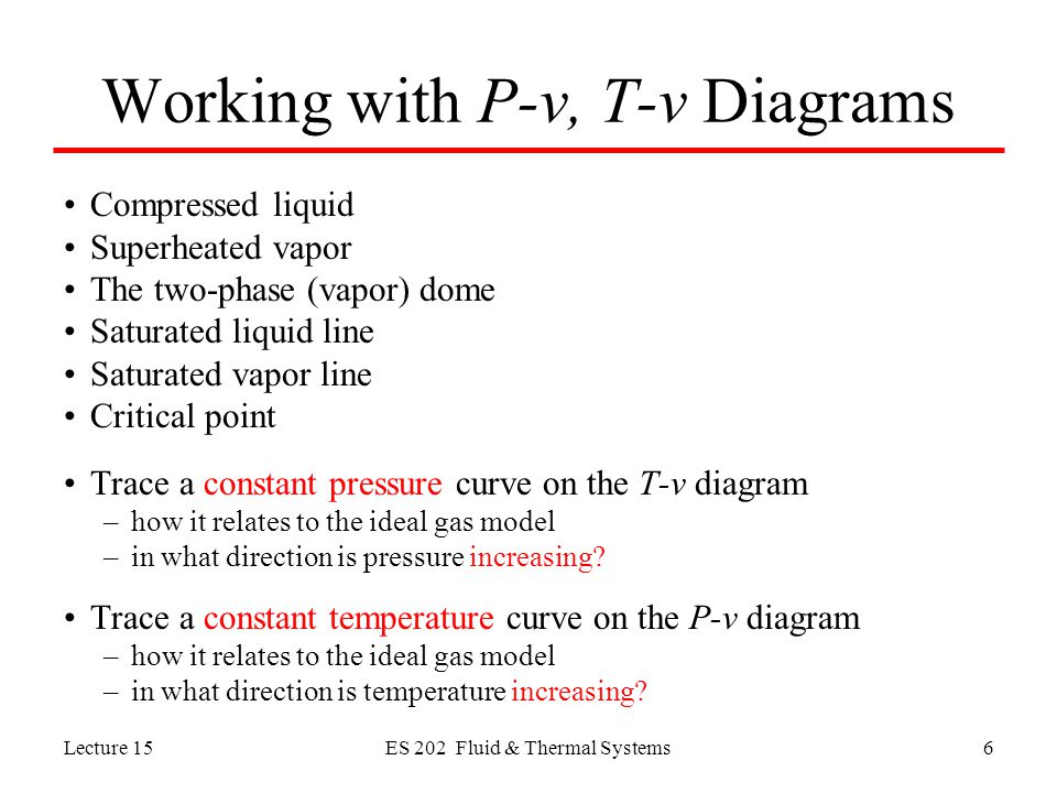 Lecture 15ES 202 Fluid & Thermal Systems6 Working with P-v, T-v Diagrams Compressed liquid Superheated vapor The two-phase (vapor) dome Saturated liquid line Saturated vapor line Critical point Trace a constant pressure curve on the T-v diagram –how it relates to the ideal gas model –in what direction is pressure increasing.