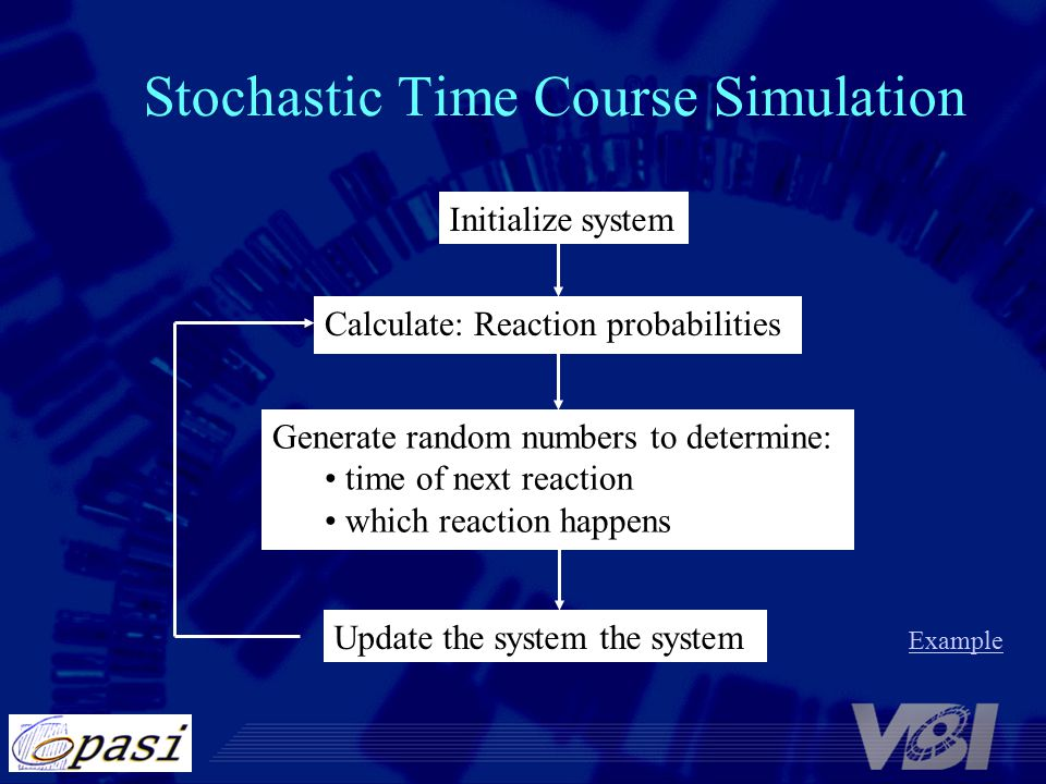 Stochastic Time Course Simulation Initialize system Calculate: Reaction probabilities Generate random numbers to determine: time of next reaction which reaction happens Update the system the system Example