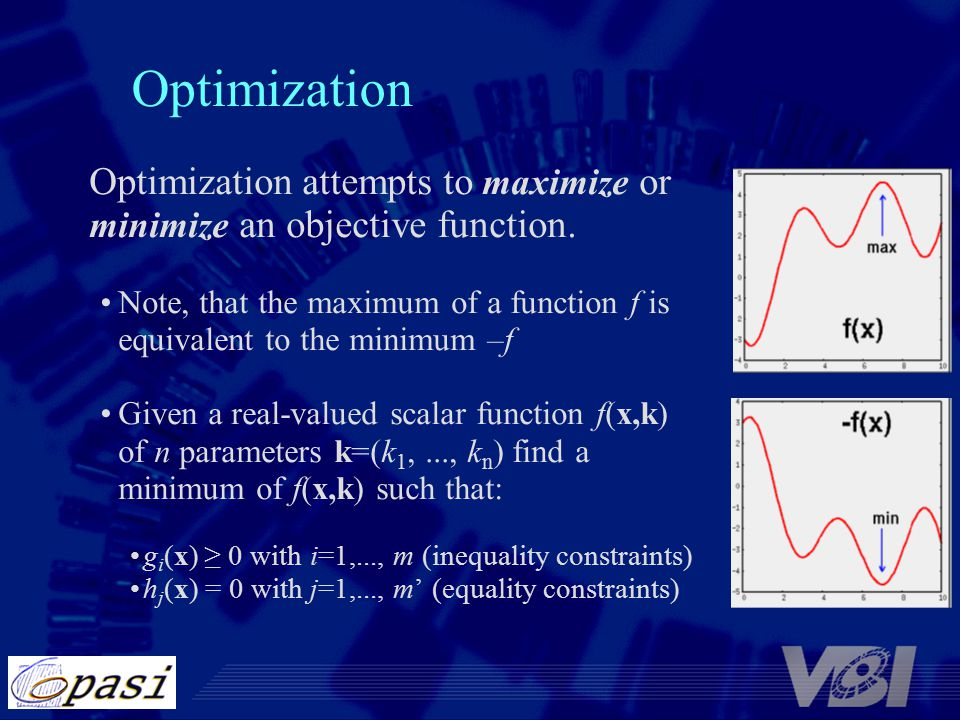 Optimization Optimization attempts to maximize or minimize an objective function.