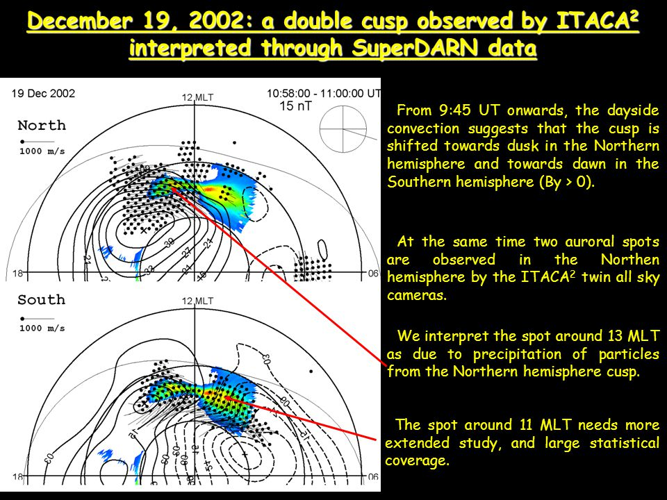 December 19, 2002: a double cusp observed by ITACA 2 interpreted through SuperDARN data From 9:45 UT onwards, the dayside convection suggests that the cusp is shifted towards dusk in the Northern hemisphere and towards dawn in the Southern hemisphere (By > 0).