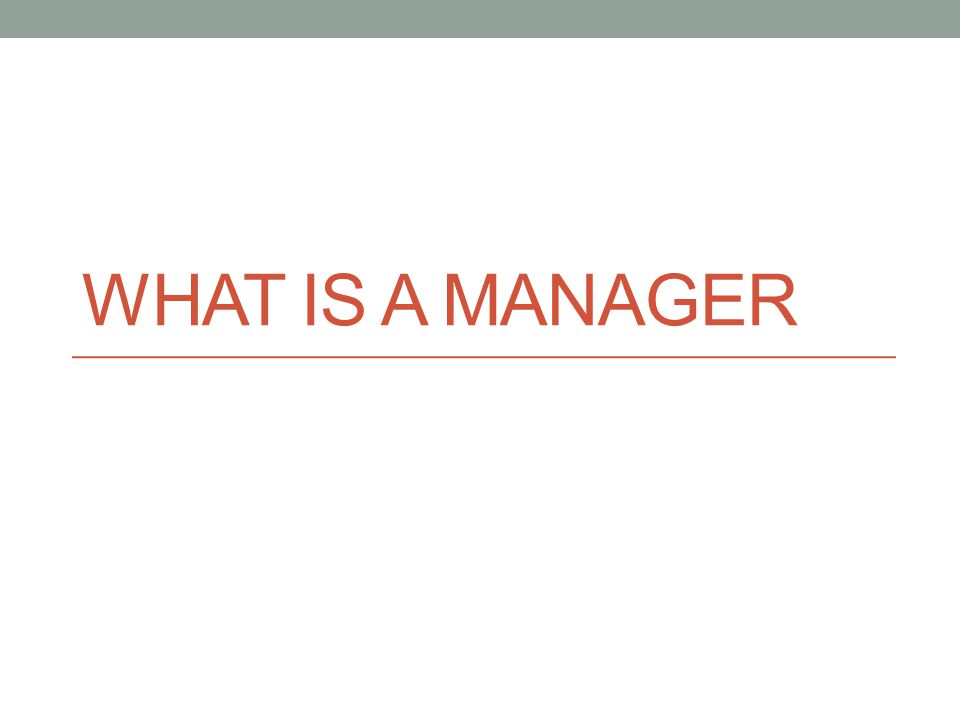 WHAT IS A MANAGER