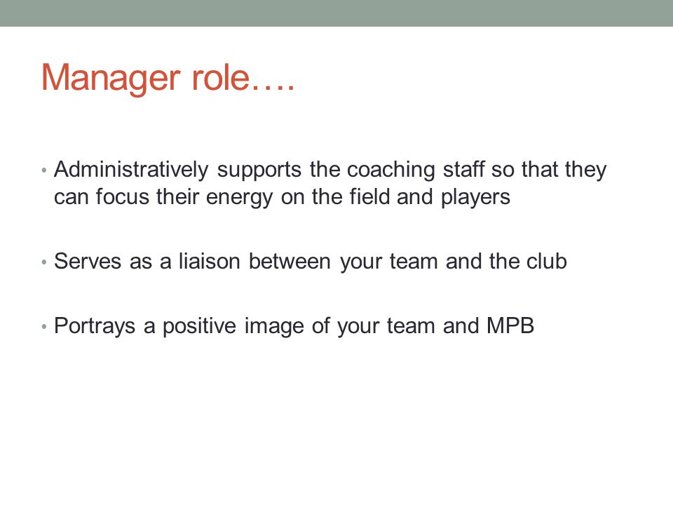 Manager role….