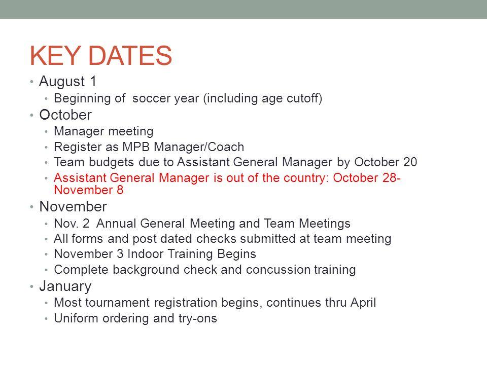 Key Dates continued… February Feb.