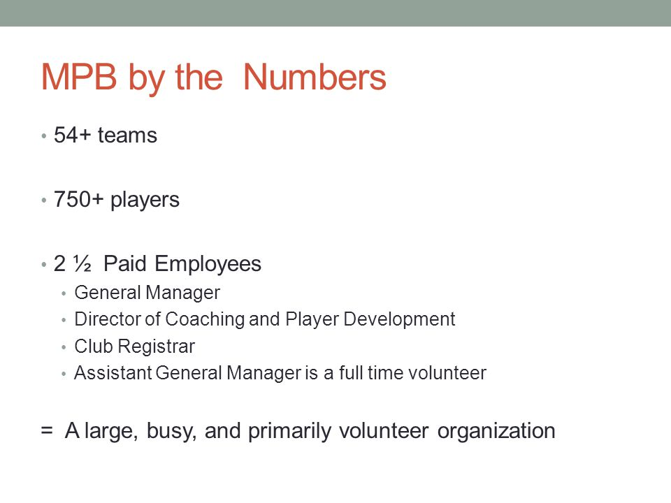 MPB by the Numbers 54+ teams 750+ players 2 ½ Paid Employees General Manager Director of Coaching and Player Development Club Registrar Assistant General Manager is a full time volunteer = A large, busy, and primarily volunteer organization