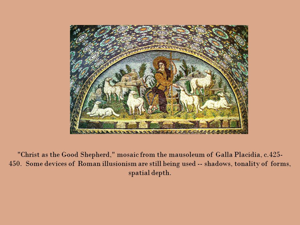 Christ as the Good Shepherd, mosaic from the mausoleum of Galla Placidia, c.425- 450.
