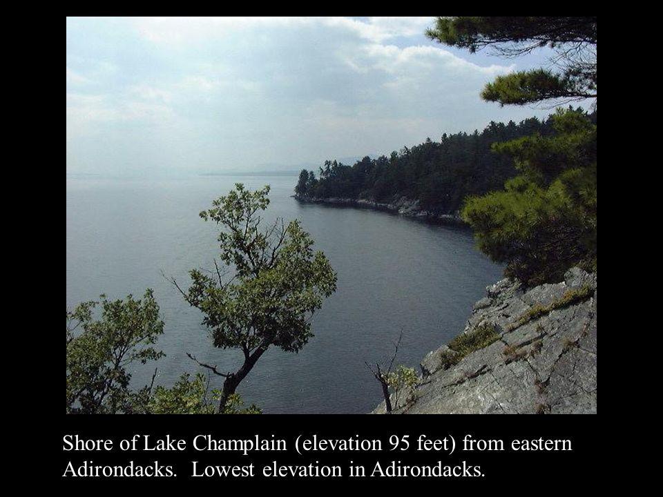 Shore of Lake Champlain (elevation 95 feet) from eastern Adirondacks. Lowest elevation in Adirondacks.