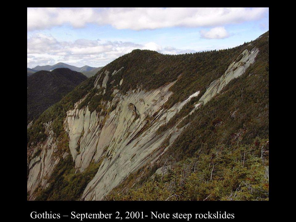 Gothics – September 2, 2001- Note steep rockslides