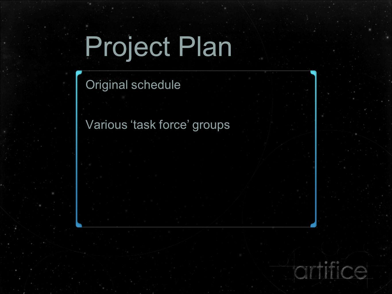 Project Plan Original schedule Various 'task force' groups