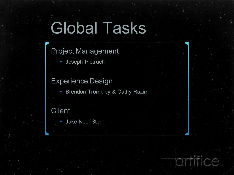 Global Tasks Project Management  Joseph Pietruch Experience Design  Brendon Trombley & Cathy Razim Client  Jake Noel-Storr