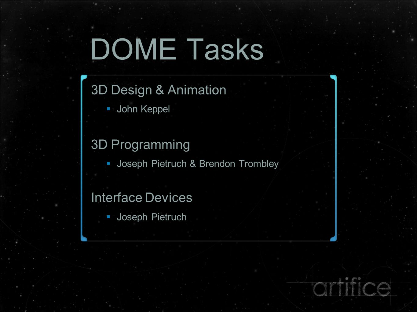 DOME Tasks GUI Design & Development  Patrick Cartelli Sound Production  Mitchell Cardwell & Gregory White Voice Actress  Enter Name Here