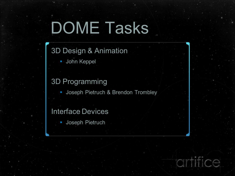 DOME Tasks 3D Design & Animation  John Keppel 3D Programming  Joseph Pietruch & Brendon Trombley Interface Devices  Joseph Pietruch