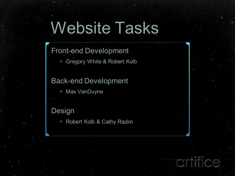 Website Tasks Front-end Development  Gregory White & Robert Kolb Back-end Development  Max VanDuyne Design  Robert Kolb & Cathy Razim