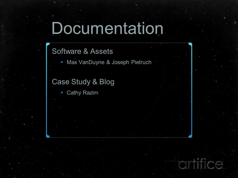 Documentation Software & Assets  Max VanDuyne & Joseph Pietruch Case Study & Blog  Cathy Razim