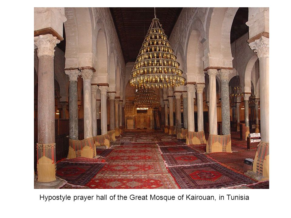 Hypostyle prayer hall of the Great Mosque of Kairouan, in Tunisia