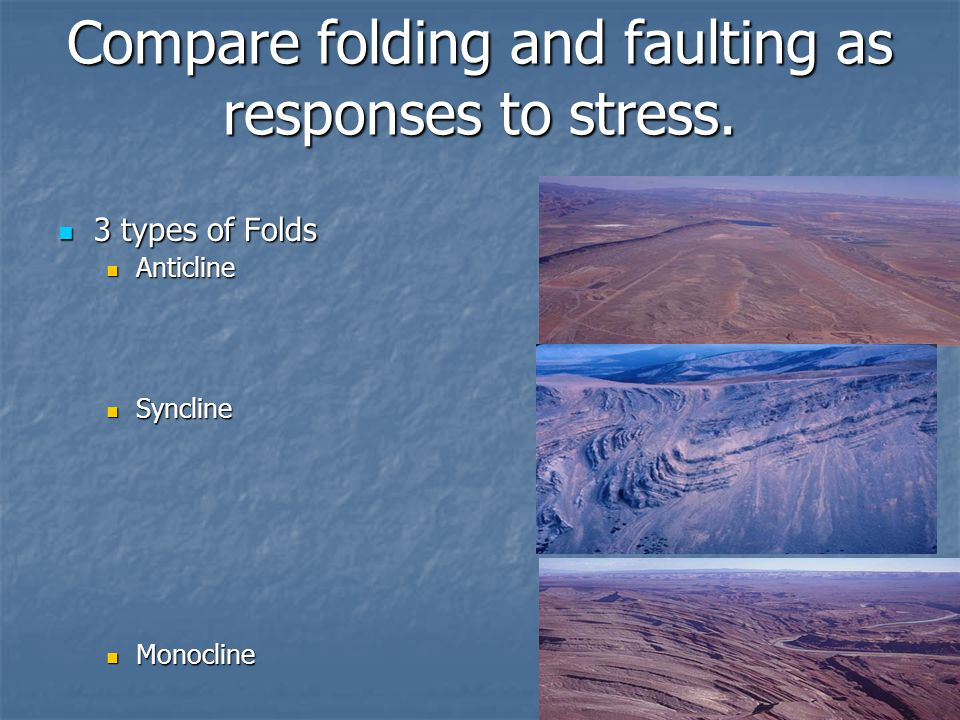 Compare folding and faulting as responses to stress. 3 types of Folds 3 types of Folds Anticline Anticline Syncline Syncline Monocline Monocline