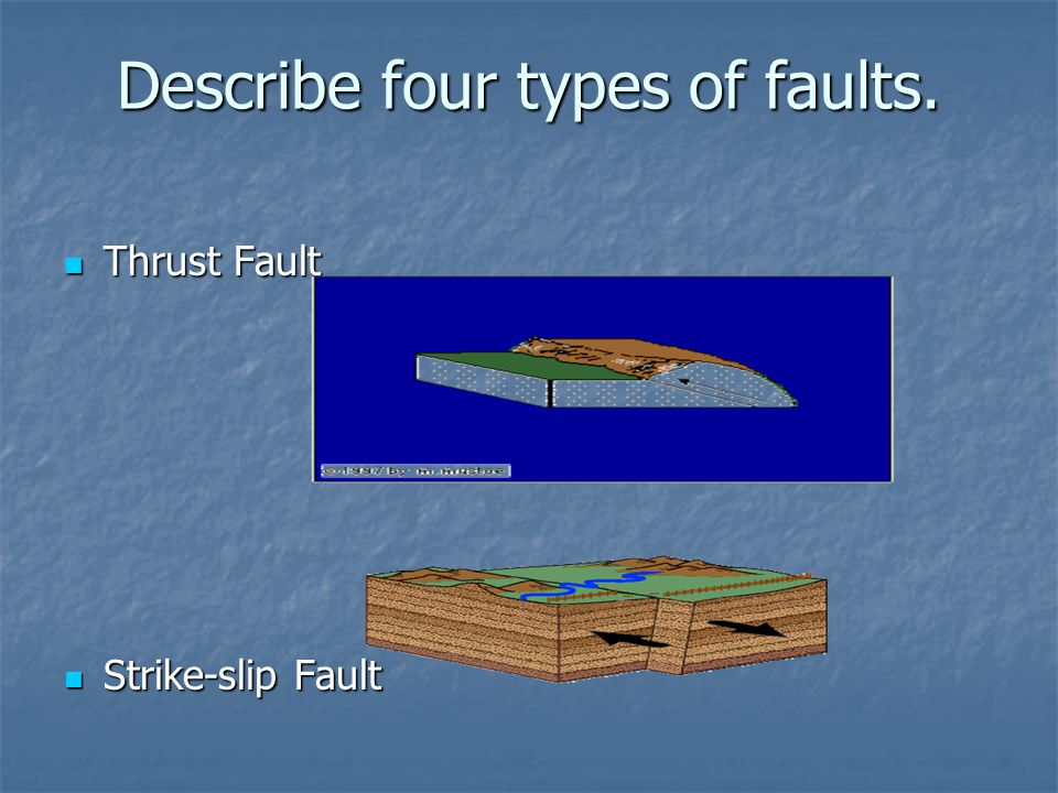 Describe four types of faults. Thrust Fault Thrust Fault Strike-slip Fault Strike-slip Fault