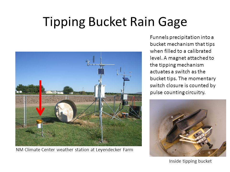 Tipping Bucket Rain Gage NM Climate Center weather station at Leyendecker Farm Funnels precipitation into a bucket mechanism that tips when filled to a calibrated level.