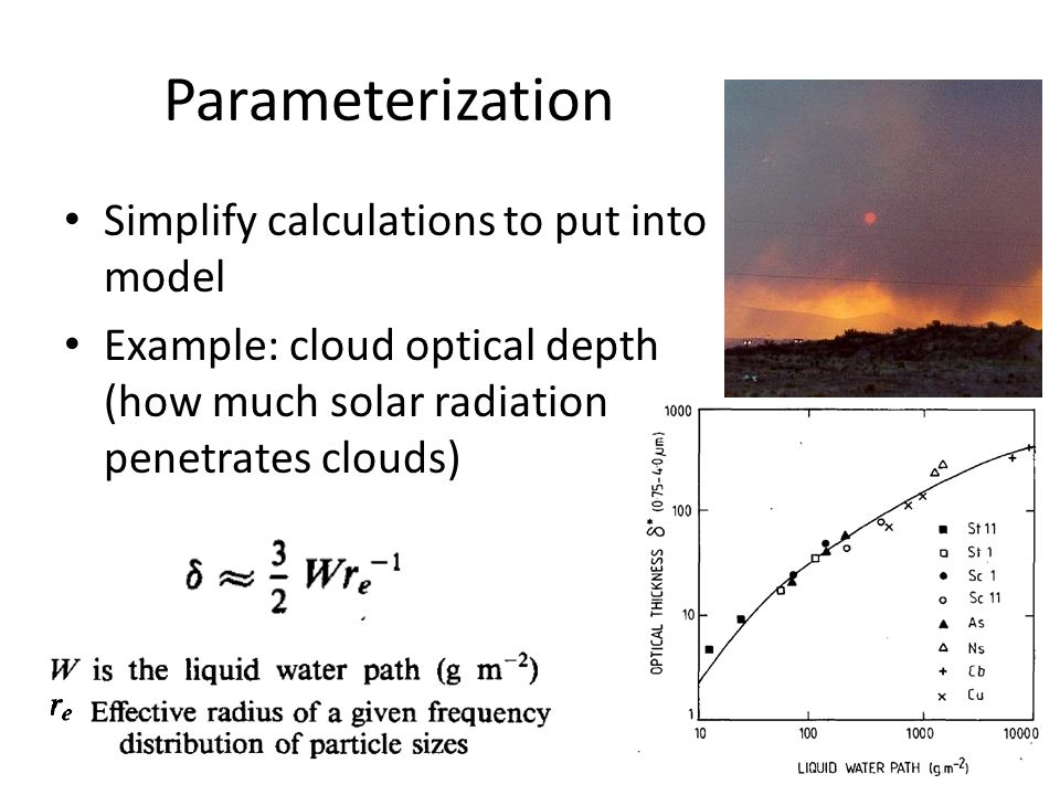 Parameterization Simplify calculations to put into model Example: cloud optical depth (how much solar radiation penetrates clouds)