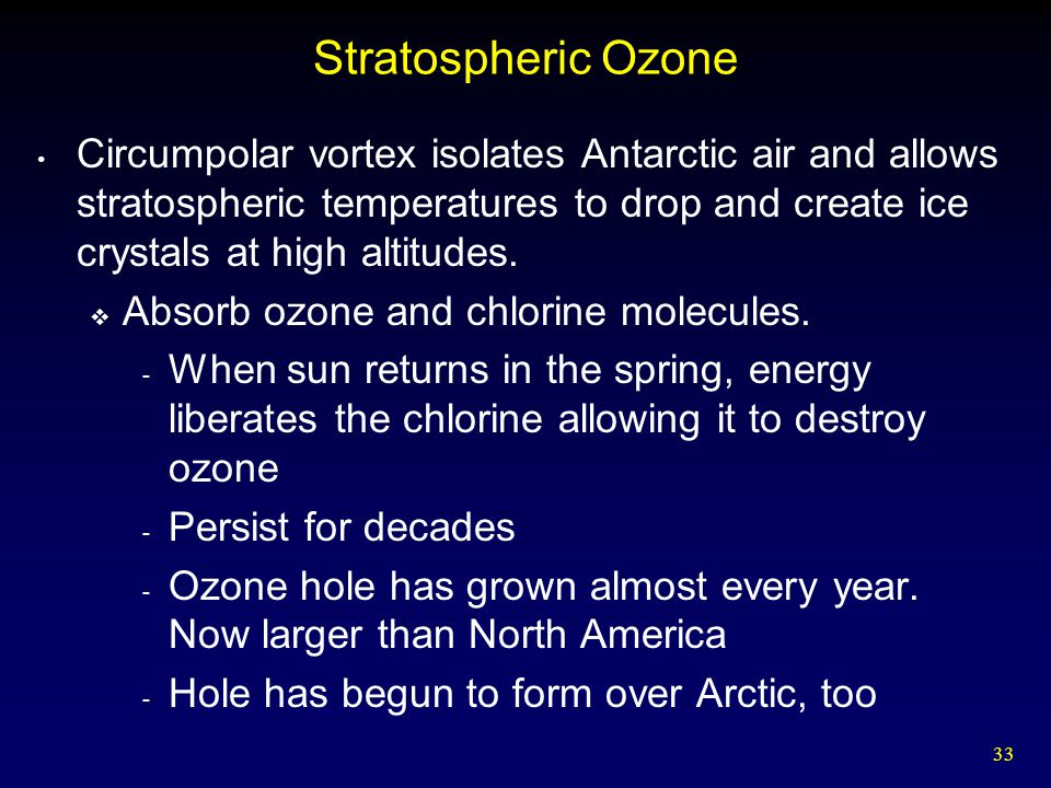 33 Stratospheric Ozone Circumpolar vortex isolates Antarctic air and allows stratospheric temperatures to drop and create ice crystals at high altitudes.
