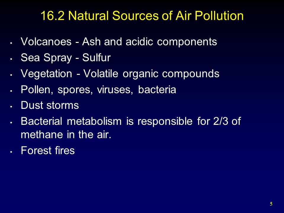 6 16.3 Human-Caused Air Pollution Primary Pollutants - released directly from the source Secondary Pollutants formed after entering the air and mixing with other environmental components  Fugitive Emissions - do not go through smokestack - Dust from strip mining, rock crushing, building construction/destruction
