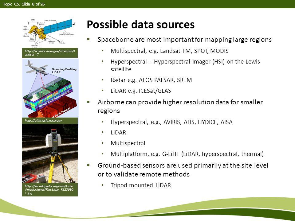 Topic C5.Slide 9 of 26 Landsat  Landsat is a passive data source, i.e.