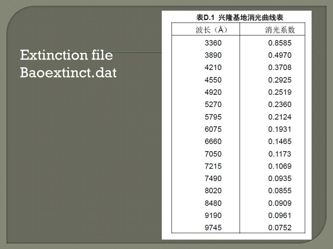 Extinction file Baoextinct.dat
