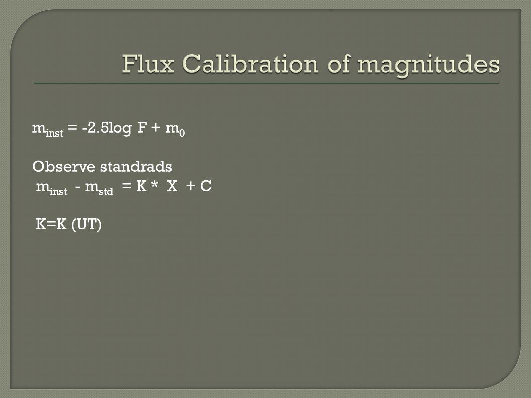m inst = -2.5log F + m 0 Observe standrads m inst - m std = K * X + C K=K (UT)