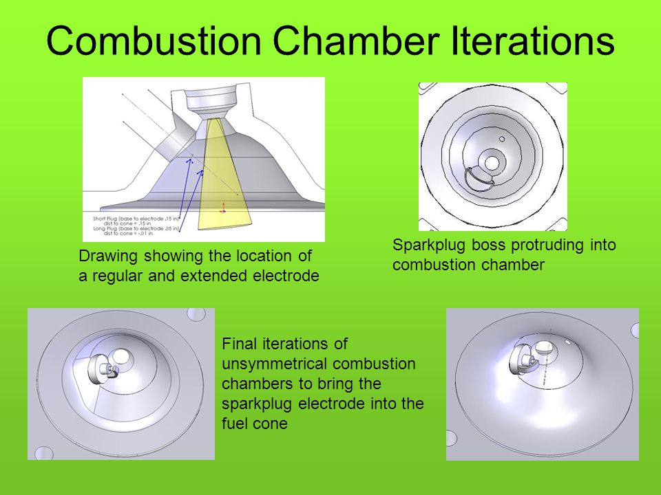 Combustion Chamber Iterations Drawing showing the location of a regular and extended electrode Sparkplug boss protruding into combustion chamber Final iterations of unsymmetrical combustion chambers to bring the sparkplug electrode into the fuel cone