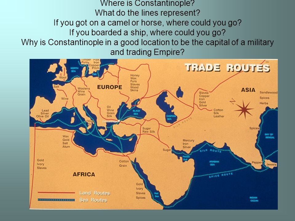 Where is Constantinople. What do the lines represent.