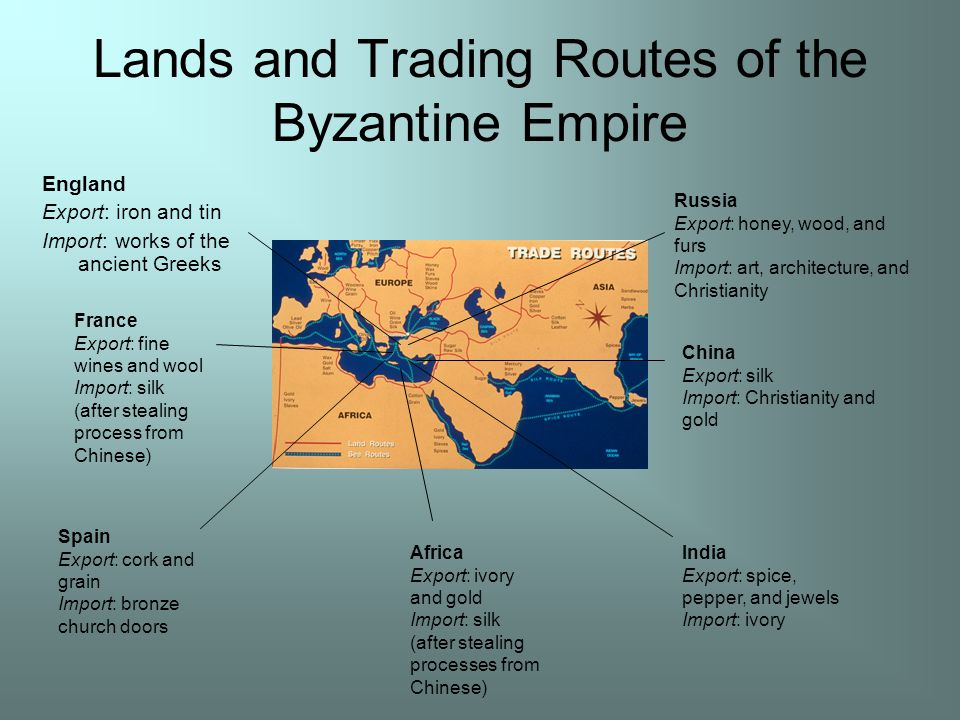 Lands and Trading Routes of the Byzantine Empire England Export: iron and tin Import: works of the ancient Greeks France Export: fine wines and wool Import: silk (after stealing process from Chinese) Spain Export: cork and grain Import: bronze church doors Africa Export: ivory and gold Import: silk (after stealing processes from Chinese) India Export: spice, pepper, and jewels Import: ivory China Export: silk Import: Christianity and gold Russia Export: honey, wood, and furs Import: art, architecture, and Christianity