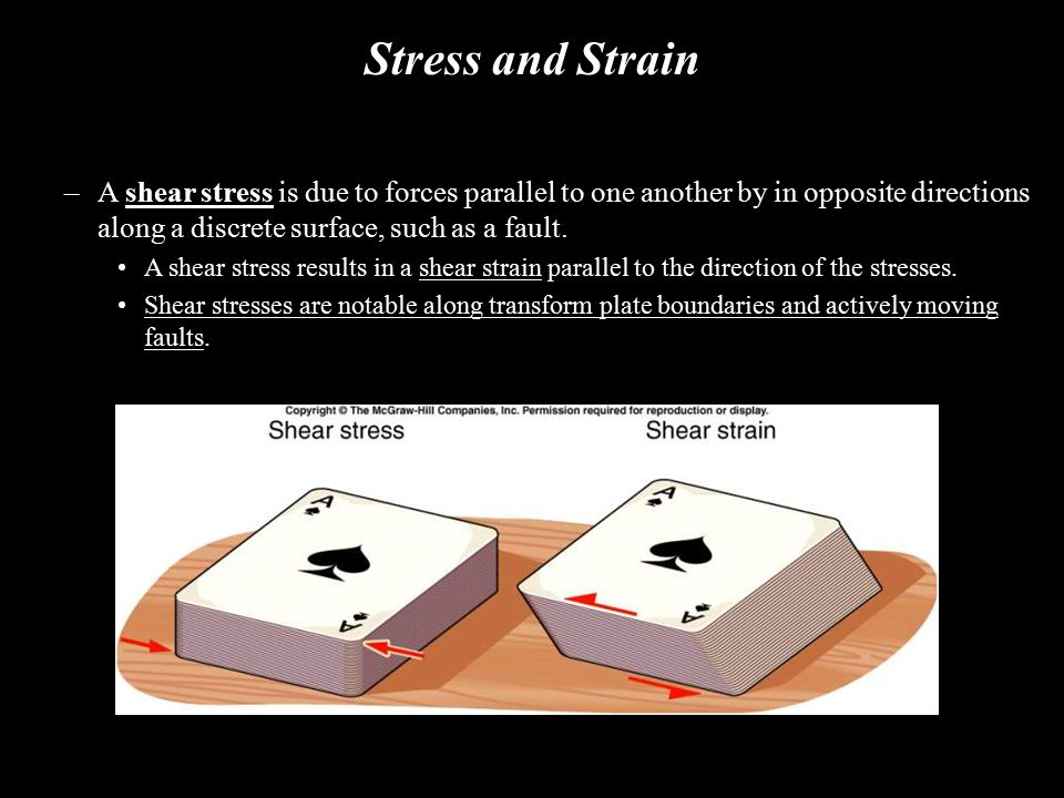 Stress and Strain –A shear stress is due to forces parallel to one another by in opposite directions along a discrete surface, such as a fault. A shea