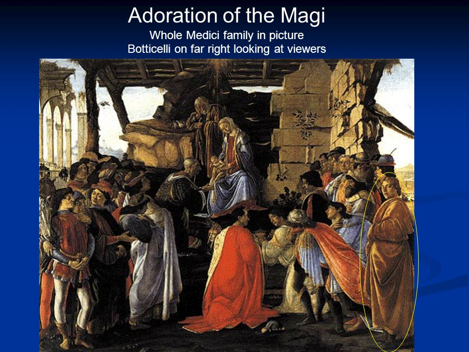 Adoration of the Magi Whole Medici family in picture Botticelli on far right looking at viewers