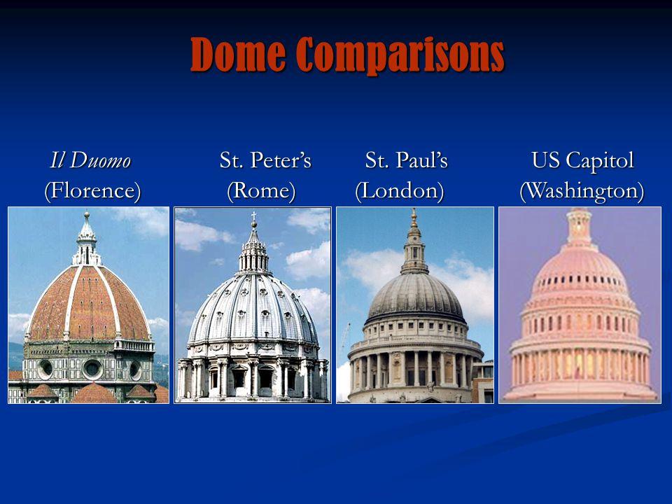 Dome Comparisons Il DuomoSt. Peter's St. Paul's US Capitol (Florence) (Rome)(London) (Washington) Il DuomoSt. Peter's St. Paul's US Capitol (Florence)